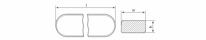 There is a drawing of transparent level gauge glass to describe the length, height and width.