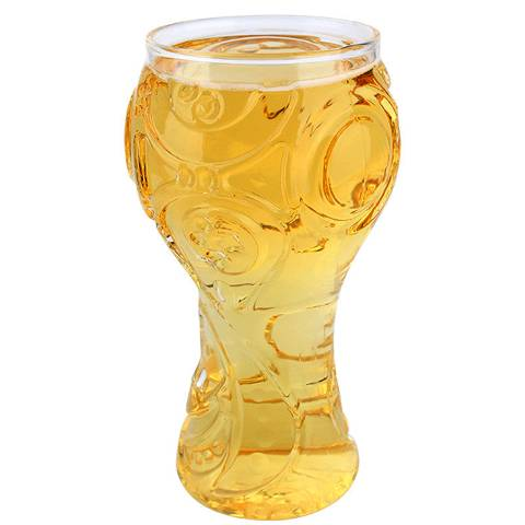 The Russia 2018 World Cup Beer Glass is filled with beers.