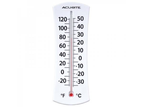 A white plastic weather thermometer with °F and °C scale mark on white background.