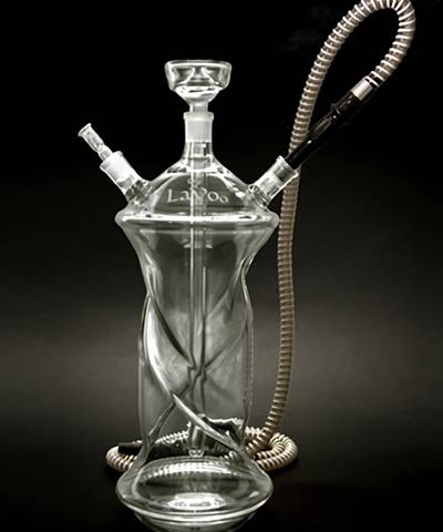 This is a type B double pipes glass hookah.