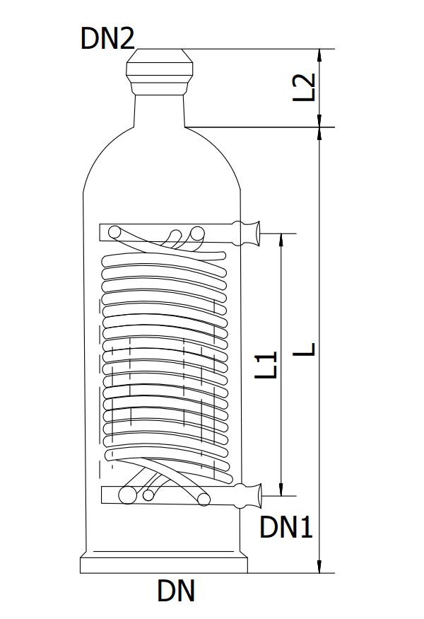 This is the schematic of glass coil pipe condenser sizes.