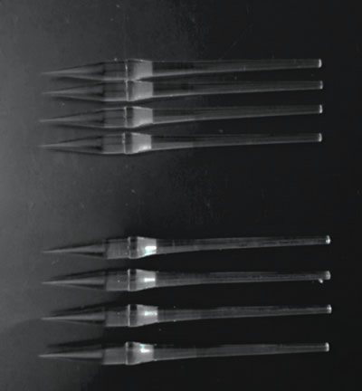 There are ten glass light guides like the shape of arrows.