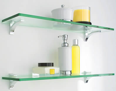 Two glass shelf with some bottles on it in the bathroom.