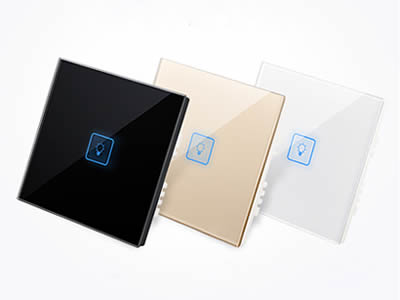A black, a golden and a white color glass touch panel on the white background.