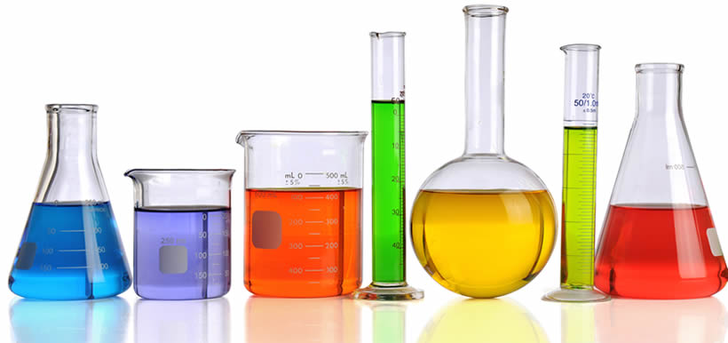 There are seven kinds of laboratory glass ware, including tubes, beakers, round-bottom flask and measuring cylinders.