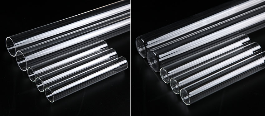 Five quartz sleeves with different sizes are arranged neatly on a black background.