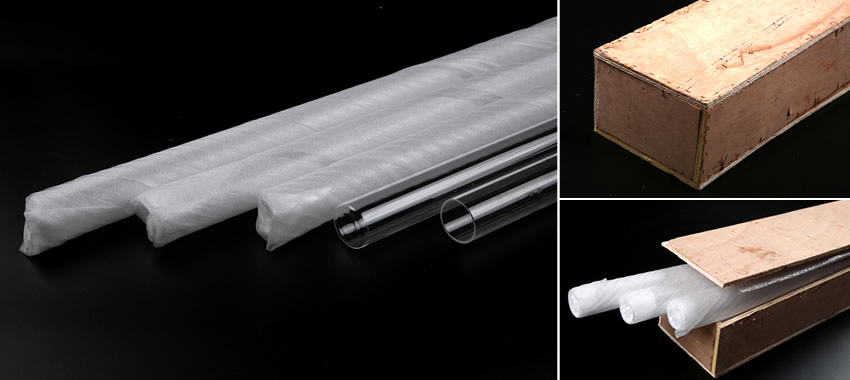 Foamed paper-wrapped quartz sleeves are placed in a long wooden sealed box with bubble paper.