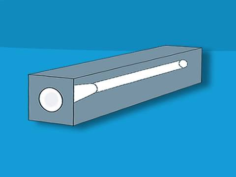 A square precision glass tube with a cavity inserted on blue background.